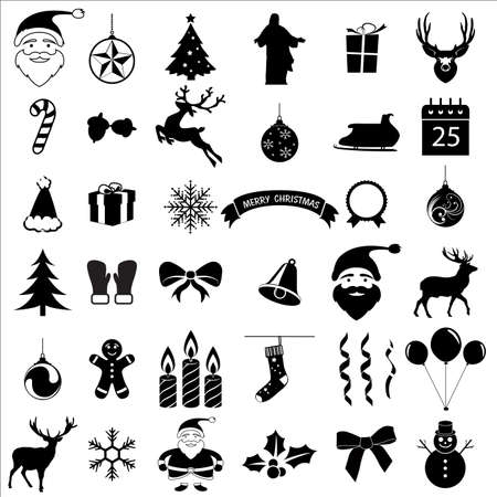 santa claus hats: Christmas and  celebration  icons collection