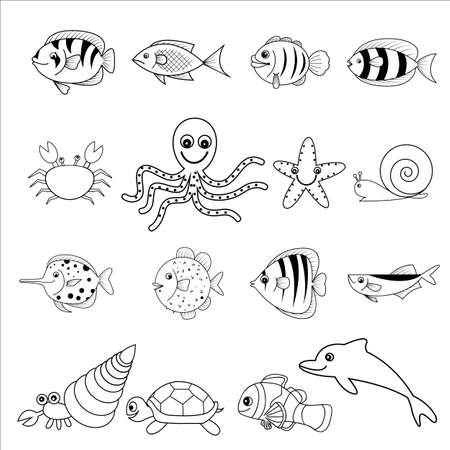 and marine life: marine life vector cartoon