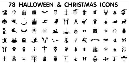moon angels: Collection of 78 halloween and christmas icons