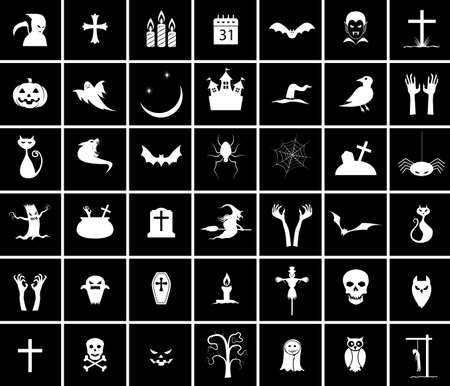 bran: Collection of 42 halloween icons Illustration