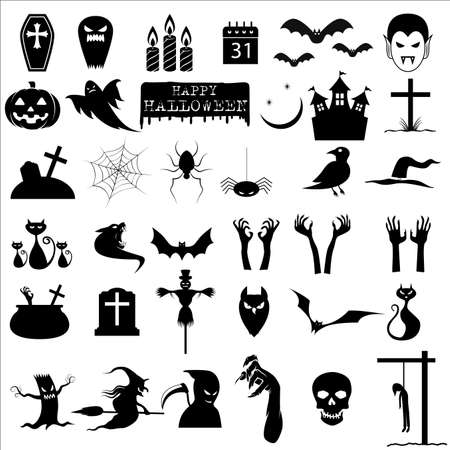halloween tree: Collection of 36 halloween icons Illustration
