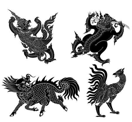 アジア文学からシルエット ベクトル モンスター  イラスト・ベクター素材
