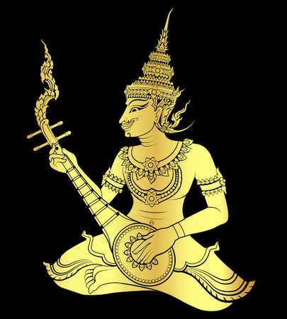 king thailand: Gold of Thai art guitarist  vector