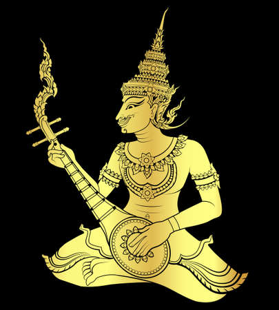 Gold of Thai art guitarist  vector