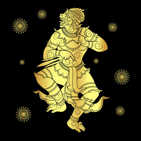 ramayana: Drawing of a hanuman or monkey king silhouetted in gold Illustration