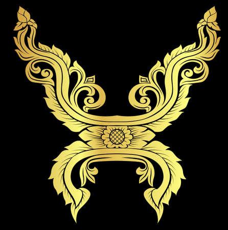 thai motifs: Golden Asian arts interior vector