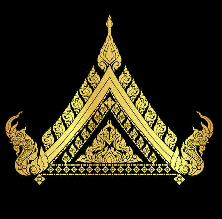 serpent: Thai arts interiorl with many vector patterns and gold