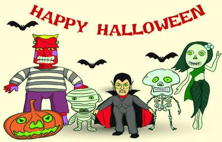 Set of Halloween, ghosts around the world, vector cartoon