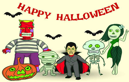 Set of Halloween, ghosts around the world, vector cartoon