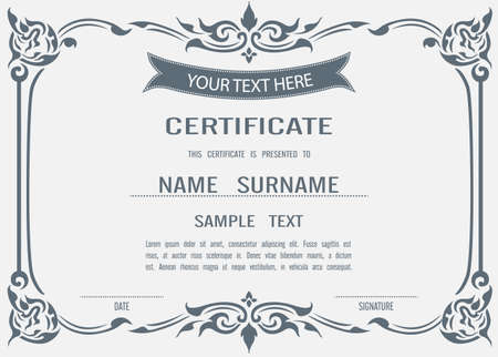 Asian Vector certificate template in eps10 Illustration