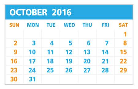 październik: Calendar of 2016,October , on White Background starts from Sunday Ilustracja