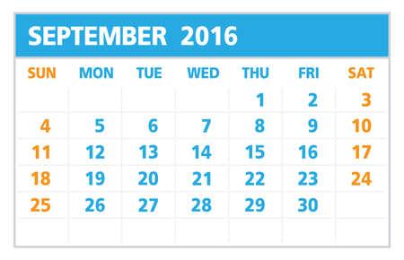 kalendarz: Kalendarz 2016, wrzesień, na białym tle zaczyna się od niedzieli