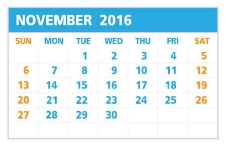 Calendar of 2016,November , on White Background starts from Sunday