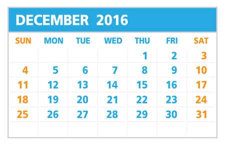 in december: Calendar of 2016, December , on White Background starts from Sunday Illustration