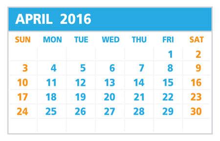 4월: Calendar of 2016, April, on White Background starts from Sunday