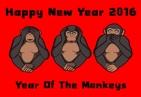 shutting: Card of three monkeys, shutting eyes, ears and mouth, for 2016, Year of the monkeys