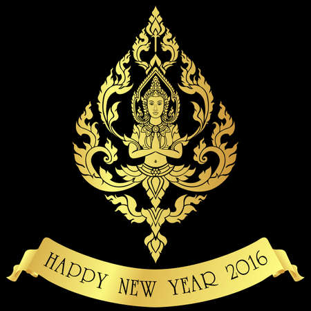 Happy new year 2016 by Thai angel , showing her beautiful respect, golden art vector