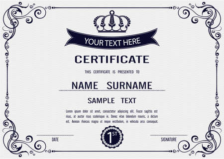 vintage document: Charming Vector certificate template  Illustration