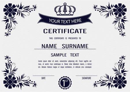 graduate asian: Charming Vector certificate template   Illustration