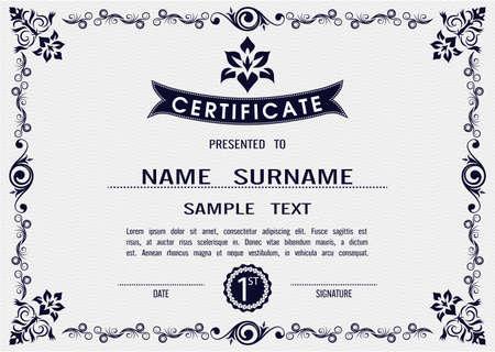Charme modèle de certificat vecteur dans eps10 Banque d'images - 48179730