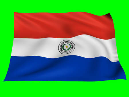 paraguay: Flag of Paraguay   blowing in the wind on green background