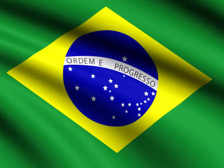 silk screen: Flag of  Brazil   blowing in the wind on green background