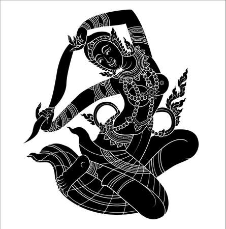 thai tattoo: Mother of Earth or Hindu god silhouette on white black ground