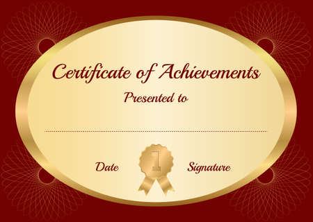graduate asian: Classical vector certificate template Illustration
