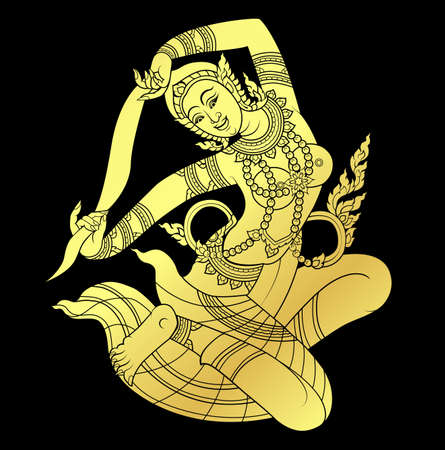 thai tattoo: Mother of Earth or Hindu god in gold on black background