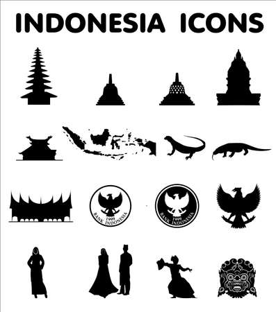 sixteen: Indonesia sixteen newest vector icons Illustration