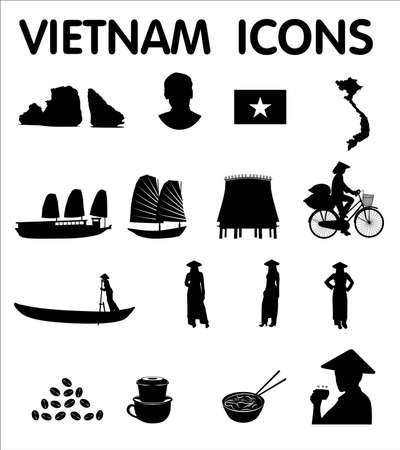 Vietnam seize nouveaux icônes vectorielles Banque d'images - 50016425