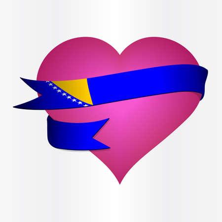 bosnia and herzegovina flag: Flag card vector of Bosnia and Herzegovina Valentines Card  in eps10 Illustration