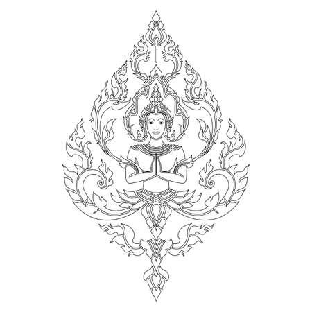 Thai arts angel engraving
