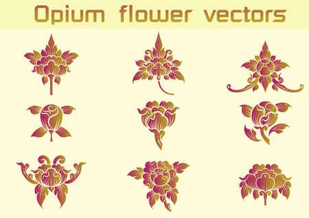 Opium motif floral sur fond blanc Banque d'images - 56799276