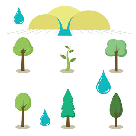 Fresh and Green nature vector icons Çizim