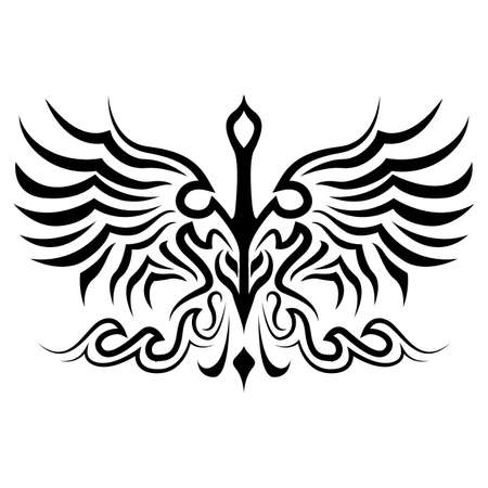 Bird  tattoo silhouette  vector in eps 10