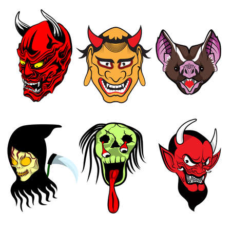6 faces of scary ghost vector cartoon Illustration