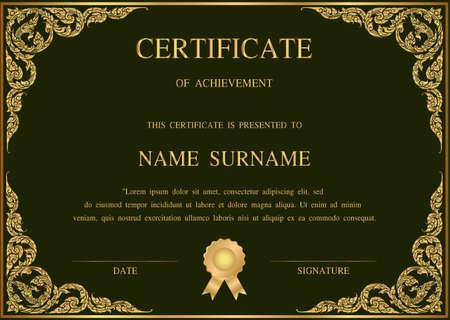 Thai art Vector certificate template with Naga