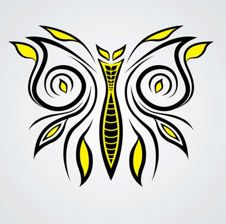 vector lined butterfly for  tattoo or all purpose Banque d'images - 103107764