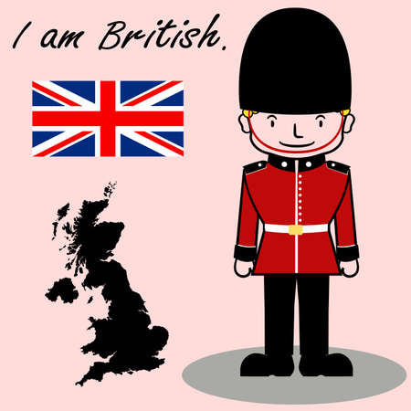 Vector of British soldier with traditional hat , map and flag Illustration