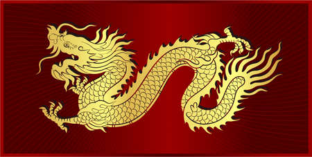 Gold vector of Chinese dragon crawling on frame