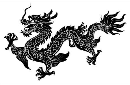 vector of Chinese dragon crawling