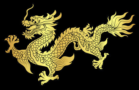 GOLD vector of Chinese dragon crawling