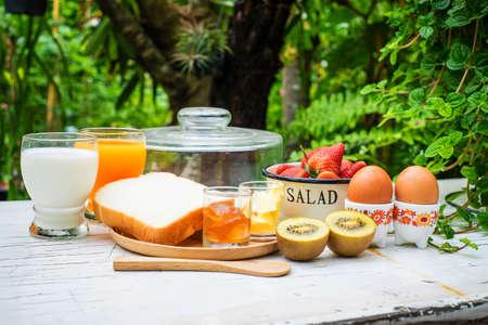 breakfast garden: healthy breakfast in garden