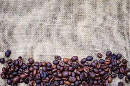 sackcloth: coffee bean on sackcloth Stock Photo
