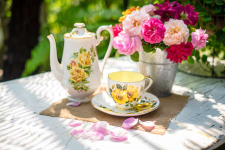 antique dishes: English tea in garden