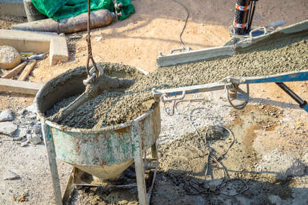 concreting: Concrete pouring during concreting buildings in construction