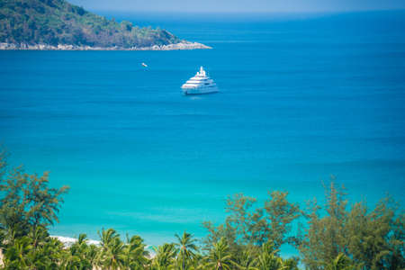 blue lagoon: Cruise Ship in the Ocean with Blue Sky Stock Photo