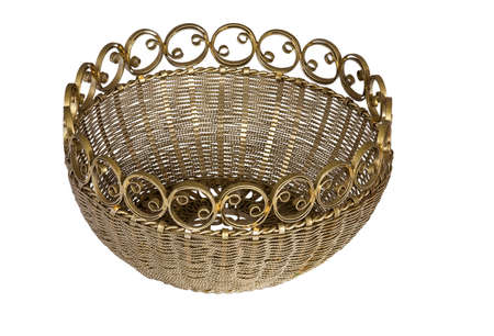 Old openwork vase for sweets on a white background