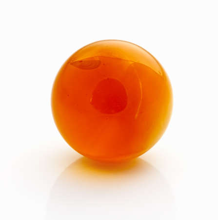 Amber spheres on a white table. Baltic sea Stock Photo